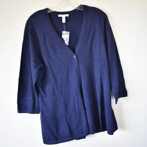 🐶 isaacmizrahilive!Navy Blue Long-Sleeve Cardigan